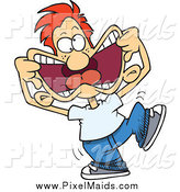 Clipart of a Cartoon Arrogant Red Haired White Boy Making Funny Faces by Toonaday