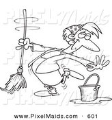 Clipart of a Cartoon Black and White Coloring Page Outline Design of a Woman Dancing and Mopping by Toonaday