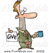 Clipart of a Cartoon Broke White Businessman Holding a Cup and Give Sign by Toonaday