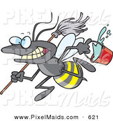 Clipart of a Cartoon Busy Janitorial Bee on a Cleaning Spree by Toonaday