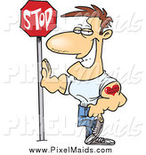 Clipart of a Cartoon Caucasian Buff Man Leaning Against a Stop Sign by Toonaday