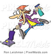 Clipart of a Cartoon Crazy Spring Cleaning Woman Vacuuming by Toonaday