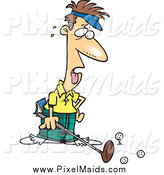 Clipart of a Cartoon Exhausted Golfer Man by Toonaday