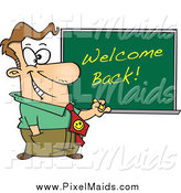 Clipart of a Cartoon Happy White Male Teacher Writing Welcome Back on a Board by Toonaday