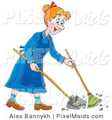 Clipart of a Cartoon Happy Woman Sweeping up a Mess with a Broom by Alex Bannykh