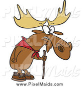 Clipart of a Cartoon Hiking Moose with a Walking Stick by Toonaday