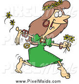 Clipart of a Cartoon Hippie Lady Running with Flowers by Toonaday