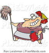 Clipart of a Cartoon Housekeeper Woman Cleaning by Toonaday
