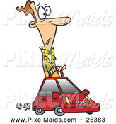 Clipart of a Cartoon Man Driving a Tiny Car by Toonaday