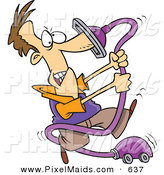 Clipart of a Cartoon Man with His Nose Stuck in an out of Control Vacuum Cleaner by Toonaday