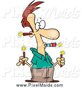 Clipart of a Cartoon Red Haired Man Holding a Lot of Fireworks by Toonaday