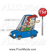 Clipart of a Cartoon Red Haired Woman Running a Stop Sign by Toonaday