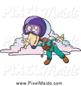 Clipart of a Cartoon Skydiving Lady by Toonaday