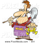 Clipart of a Cartoon Stay at Home Dad Holding a Baby and a Broom by Toonaday