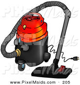 Clipart of a Cartoon Working Canister Vacuum by Dero