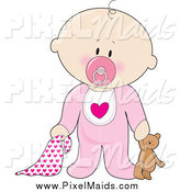 Clipart of a Caucasian Baby Girl with a Teddy Bear, Pacifier and Blanket by Maria Bell