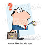 Clipart of a Caucasian Businessman Checking His Watch by Hit Toon