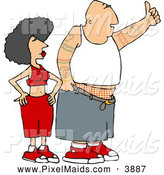 Clipart of a Caucasian Gangster Man and Woman Hitchhiking by Djart