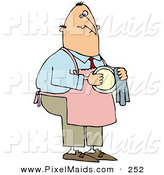 Clipart of a Caucasian House Husband Wearing an Apron and Drying a Dish by Djart