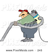 Clipart of a Caucasian Male Janitor Wearing and Using a Back Vacuum by Djart