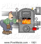 Clipart of a Caucasian Man Working on a Hot Boiler with Valves by Djart