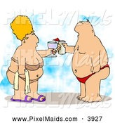 Clipart of a Caucasian Obese Husband and Wife Vacationing at the Beach by Djart