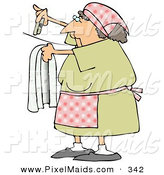 Clipart of a Caucasian Woman Hanging Clothes on a Line to Dry in the Sunshine by Djart