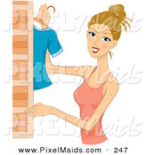 Clipart of a Cheerful Dirty Blond Woman Hanging Clothes in a Closet by BNP Design Studio
