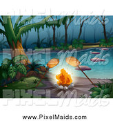Clipart of a Chickens Roasting over a Campfire on a Foggy River by Graphics RF