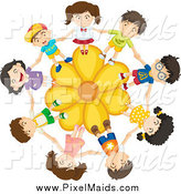 Clipart of a Children Holding Hands on a Yellow Daisy Flower by Graphics RF