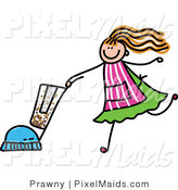Clipart of a Children's Sketch of a Girl Vacuuming by Prawny
