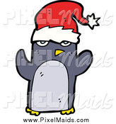 Clipart of a Christmas Penguin Wearing a Santa Hat by Lineartestpilot