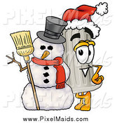 Clipart of a Christmas Pillar Mascot with a Snowman by Toons4Biz