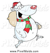 Clipart of a Christmas Polar Bear Carrying a Sack over His Shoulder like Santa by Hit Toon