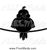 Clipart of a Chubby Black and White Silhouetted Bird on a Wire by Pams Clipart