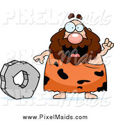 Clipart of a Chubby Caveman Talking by a Stone Wheel by Cory Thoman