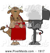 Clipart of a Chubby Cow Cooking BBQ on an Outdoor Propane Grill by Djart