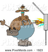 Clipart of a Chubby Cow Electrician Getting Shocked with Electricity by Djart
