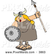 Clipart of a Chubby Funny Viking Woman Armed with a Spear and Shield by Djart