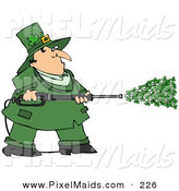 Clipart of a Chubby Irish Leprechaun in Green, Spraying Clovers from a Power Washer on St Patrick's Day by Djart