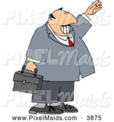 Clipart of a Chubby Smiling Businessman Waving Hello or Goodbye by Djart