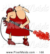 Clipart of a Chubby White Cupid Man with a Red Heart Tattoo on His Arm, Operating a Power Washer, with Hearts Spraying out of the End by Djart