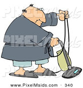 Clipart of a Chubby White Man in a Robe, Pjs and Slippers, Using a Vacuum to Clean His Carpet in His Home by Djart