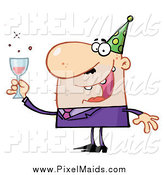 Clipart of a Chubby White Man Toasting at a New Years Party by Hit Toon