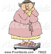 Clipart of a Chubby White Woman Standing in Shock on the Scale by Djart