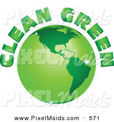 Clipart of a Clean Green Text Arching Around a Green Sparkling Globe by Tdoes