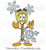 Clipart of a Cold Broom Mascot Cartoon Character with Three Snowflakes in Winter by Toons4Biz