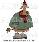 Clipart of a Cold Brown Cow Wearing Winter Clothing and Hat by Djart