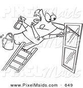 Clipart of a Coloring Page Line Art Design of a Window Cleaner Leaning Far over a Ladder by Toonaday