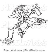 Clipart of a Coloring Page of a Spring Cleaning Woman Vacuuming by Toonaday